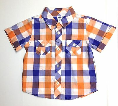 Old Navy NWOT 12-18M Baby Boy Short Sleeve Plaid Button Easter Dress Shirt Gap