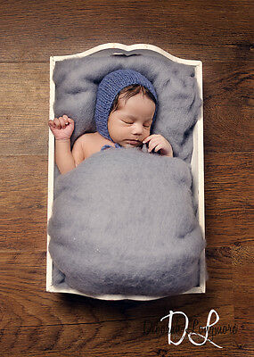 Large Ash Grey Wool Fluff, Newborn Photo Prop, Perendale Basket Stuffer