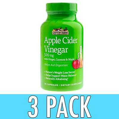 Country Farms Apple Cider Vinegar, 500 mg, Capsules, 90 ea, 3 Pack