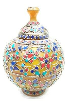 Beautiful Surahi/Pot Of Amber Gems Ancient From India Home Decor Fine Art