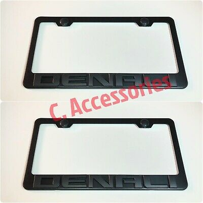 2X 3D DENALI Emblem YUKON GMC Black Stainless Steel License Plate Frame