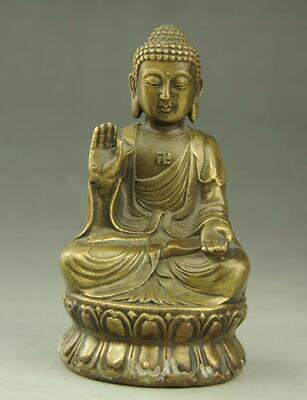 chinese  hand engraving Buddhism  old copper Tathagata  Buddha statue c02