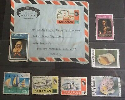 Bahamas Addressed 1974 Air Letter Plus 6 assorted used stamps.See description