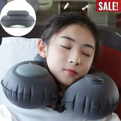 Automatic Inflatable Travel Pillow U-Shape Airplane Neck Pillow Folding