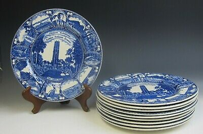 Lot of 10 Old English Staffordshire FLORIDA STATE Dinner Plate EX