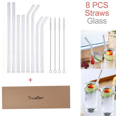 8 x Glass Straws FDA-Approved 10mm-Diameter Drinking Straws Healthy +4 x Brushes