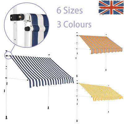 Manual Awning Retractable Stripes Canopy Sun Shade Shelter Outdoor Garden Patio