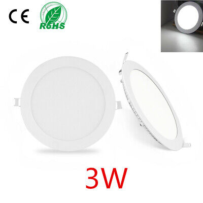 3W LED Round Recessed Ceiling Flat Panel Down Light Ultra Slim Cool White UK
