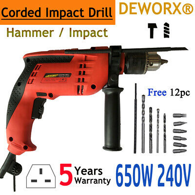 Corded Electric Hammer Drill Power Tool 650W Heavy Duty Impact Drill Keyed Chuck
