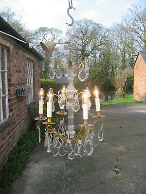 French Antique  6 Branch Chandelier & Crystal Drops Superb  /4113