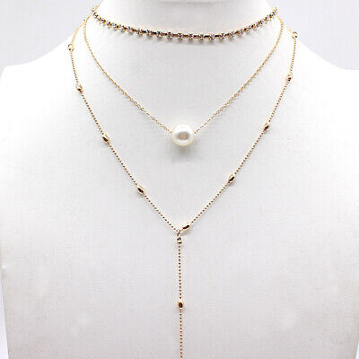 Triple Layered Simple Gold/Silver Long Water Stone Rod Choker Necklace Pendant