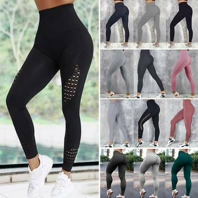 Women High Waist Yoga Pants With Pockets Push Up Fitness Gym Leggings Stretch UK