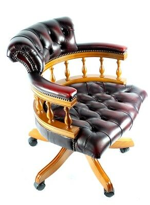 Vintage Chesterfield Leather Captains Desk Chair, Mint - FREE Shipping [PL4814A]