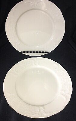 "2 Rosenthal Classic Sanssouci Embossed 9 3/4"" Dinner Plates Gold Trim Germany"