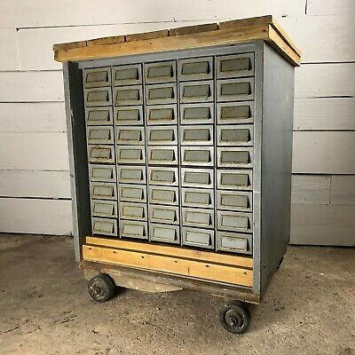 Vintage Mid Century Bank of 45 Steel Drawers Trolley with Pine Top