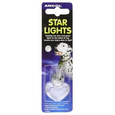 Ancol Star Light Novelty Flashing Dog ID Tag Charm for Night Time Walking Safety