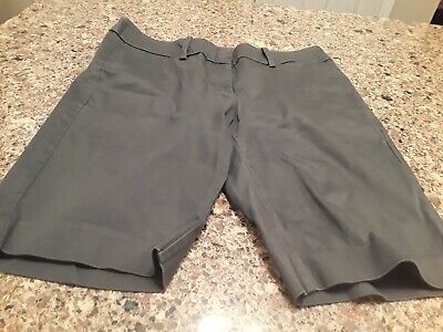 Mossimo Stretch Extensible Grey Women's Shorts Flat Front Size 10 Euc