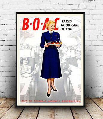 BOAC , vintage Airline advertising , Poster, Wall art, Reproduction