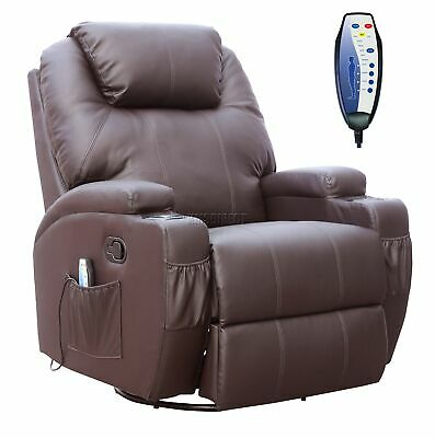 COSMETIC DAMAGED Brown Bonded Leather Massage Cinema Recliner Sofa Chair Swivel