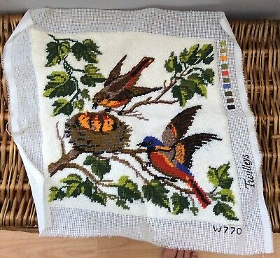 Completed Twilley's Cushion Front Birds Never Used Needlepoint Tapestry
