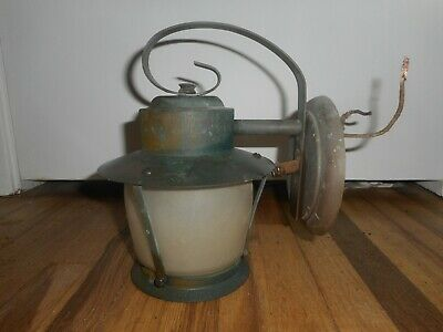 Antique Mission Copper Arts & Crafts Bungalow Porch Light Fixture Wall Sconce
