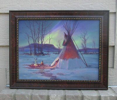 BEAUTIFUL HULAN FLEMING Original Tipi Scene Oil Painting