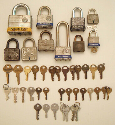 Vintage Master Lock Lot Padlocks Plus Master Lock Keys & Slaymaker Keys