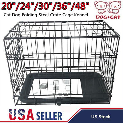 """20""""/24""""/30""""/36""""/48"""" Cat Dog Folding Steel Crate Playpen Pet Cage Kennel w/ Tray"""