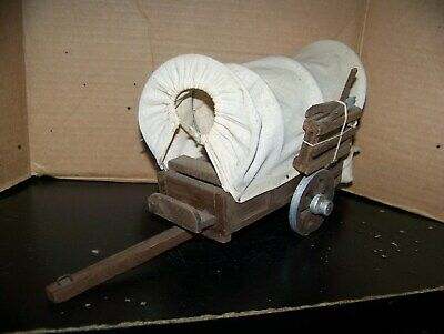 Vintage Hand Crafted Wooden & Cloth 2 Wheeled Covered Wagon