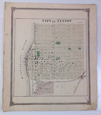 Antique 1874 Map of The City Fulton Illinois - Published by Warner & Beers