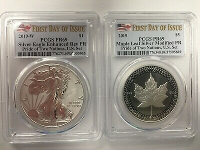 2019 Pride of Two Nations Silver Eagle Maple PR69 PCGS First Day US Set IN HAND