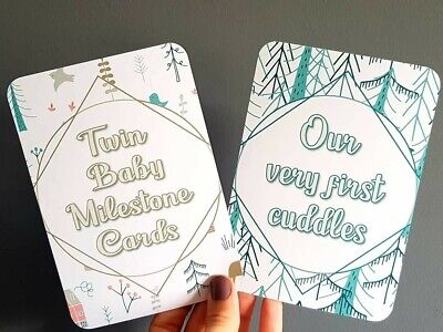 Twin baby Milestone Moment Cards set of 20 unisex baby woodland themed cards