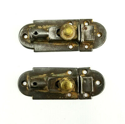 Vintage Pair of Cast Iron and Brass Knob Spring Loaded Door Cabinet Catch