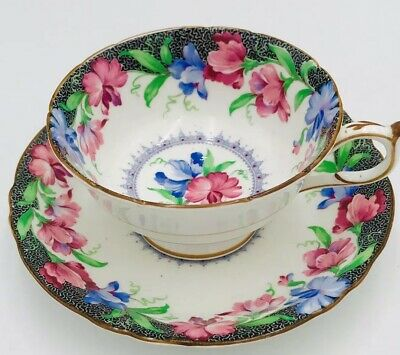 Paragon By Appointment England Flowers Tea Cup & Saucer Vintage Pink Blue Black