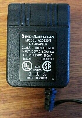 AC ADAPTER CLASS 2 Transformer Power Supply I/P: 120VAC 60Hz