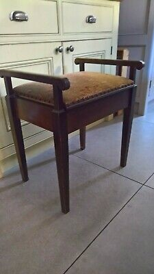 Vintage wooden piano stool , hinged seat, tapestry top- upholstery project?