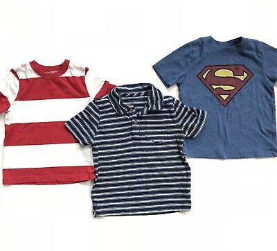 Lot 3 Old Navy 3T Boys Graphic Tee Shirt Superman Striped Gap Polo Red Blue