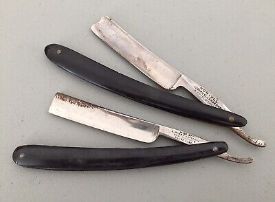 2 Antique Straight Razors Mens Shaving C. Friedr Katz Joseph Allen Sons Non XLL