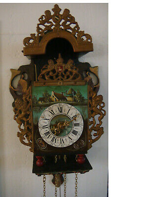 old dutch really rare FOLKLORE wall clock stoelklok/chairclock works great