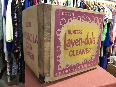 Vintage HUNTERS LAVEN-DOLA CLEANER empty Box Packaging 1960s
