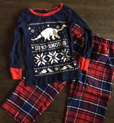 EUC Boys Gap Long Sleeve Shirt Plaid Pants Pajamas 3t 3 Yr Christmas Dino Snores