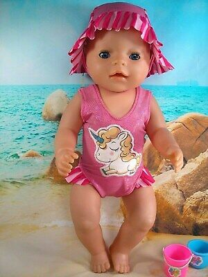 """Dolls clothes for 17"""" Baby Born Doll~PINK BABY UNICORN~ SWIMMING COSTUME~HAT"""
