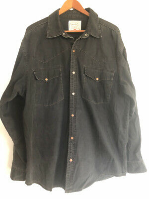 Vintage Levi's SHIRT L Black Tab Button down collared brass studs long sleeve
