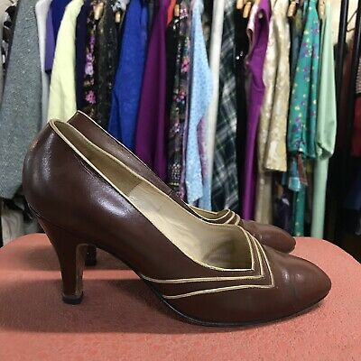 1940s 1950s ANDRE COMFORT LEATHER  shoes heels VINTAGE Brown Pinup 6.5B