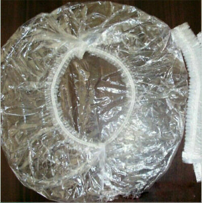 100X Disposable One-off Hotel Home Shower Bathing Clear Hair Elastic Caps Hat