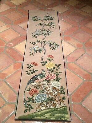 """Vintage Gorgeous!! Needlepoint Petit Point  Bell Pull Wall Hanging Tapestry  68"""""""