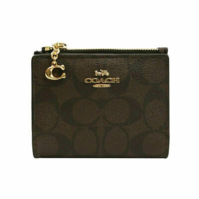 New Authentic Coach F78002 Snap Card Case In Signature Canvas Brown Black