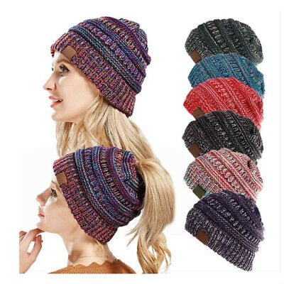 Ponytail Messy Bun BeanieTail Women's Beanie Solid Ribbed Hat Cap AU Stock