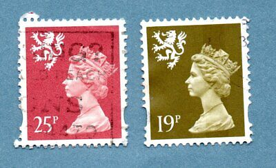 GB/UK regional SCOTLAND stamps 1971 Machin Portrait. Two stamps. Ellip. perf.