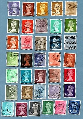 GB/UK stamps 1971 onwards Decimal - Machin Portrait. Total of 36 stamps